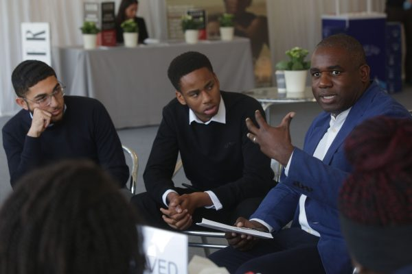 David Lammy (MP for Tottenham) talks to students from Tottenham Academy of Excellence at Cliveden Literary Festival