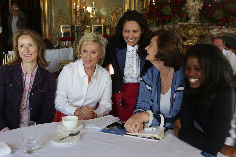 Dame Helena Morrissey, Tina Brown, Priti Patel, Cherie Blair and June Sarpong at Cliveden Literary Festival
