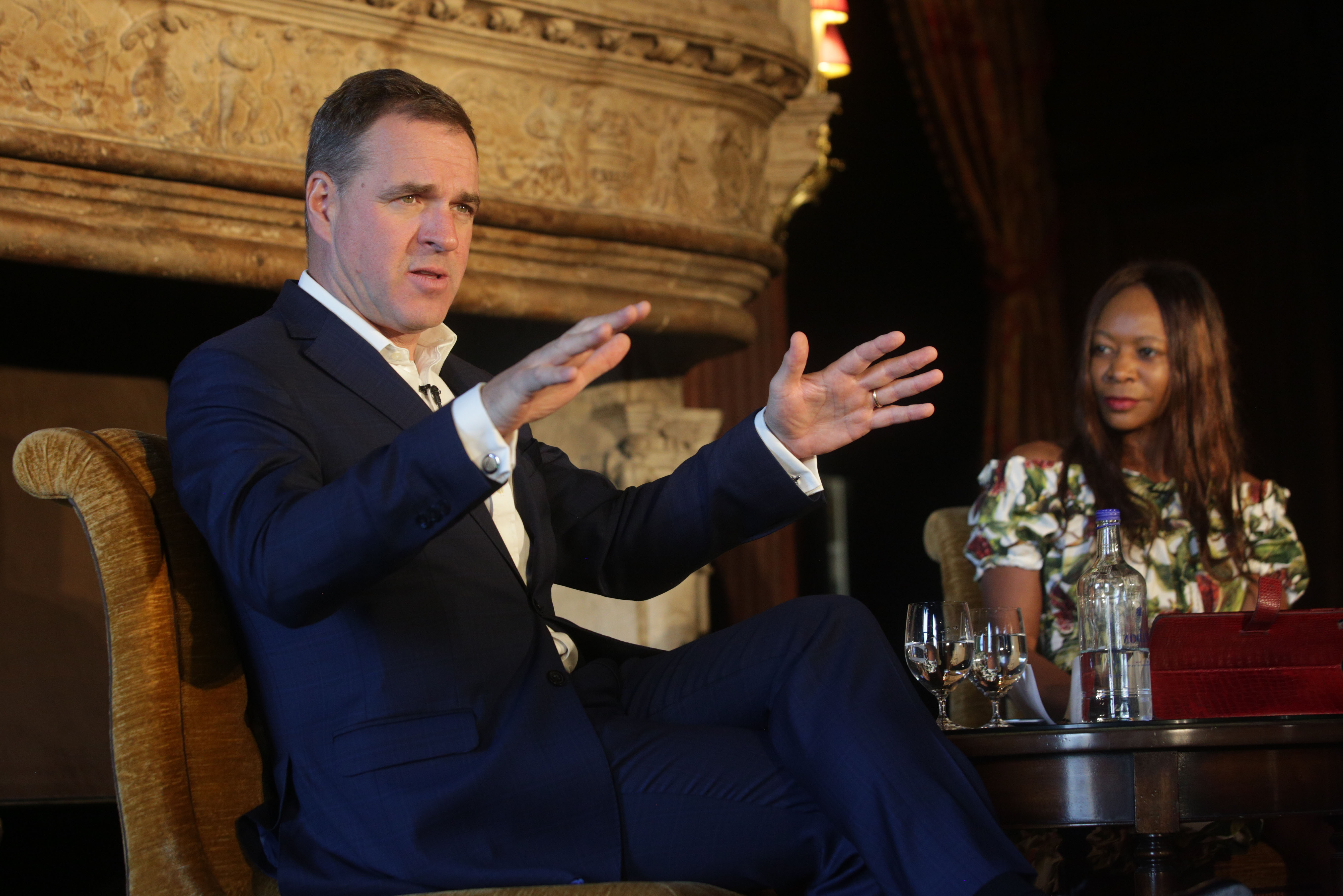 Niall Ferguson with Dambisa Moyo at Cliveden Literary Festival