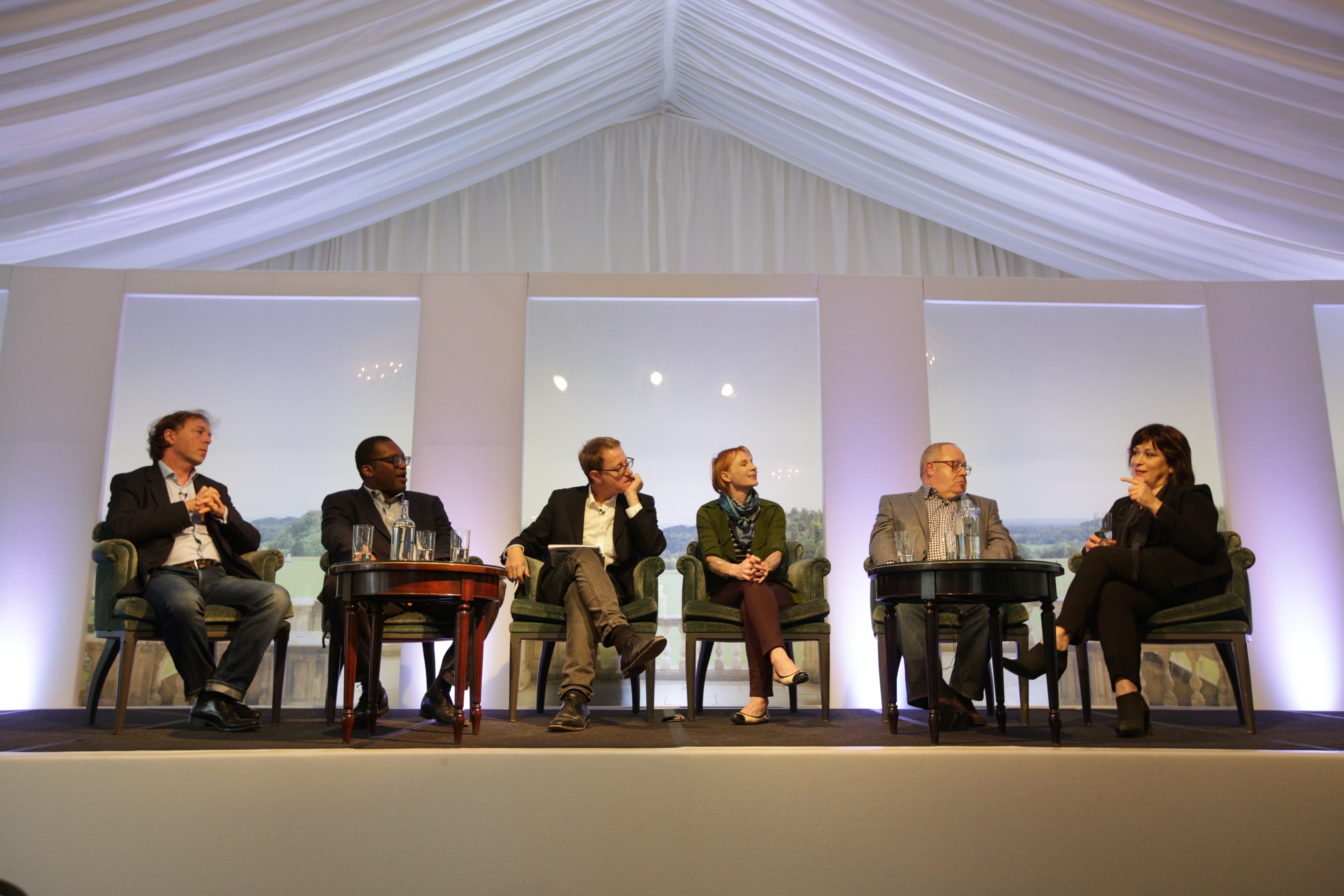 Philip Collins, Kwasi Kwarteng, Jonathan Freedland, Anne McElvoy, Stephen Pollard and Sarah Vine on The Arts Club Stage at Cliveden Literary Festival