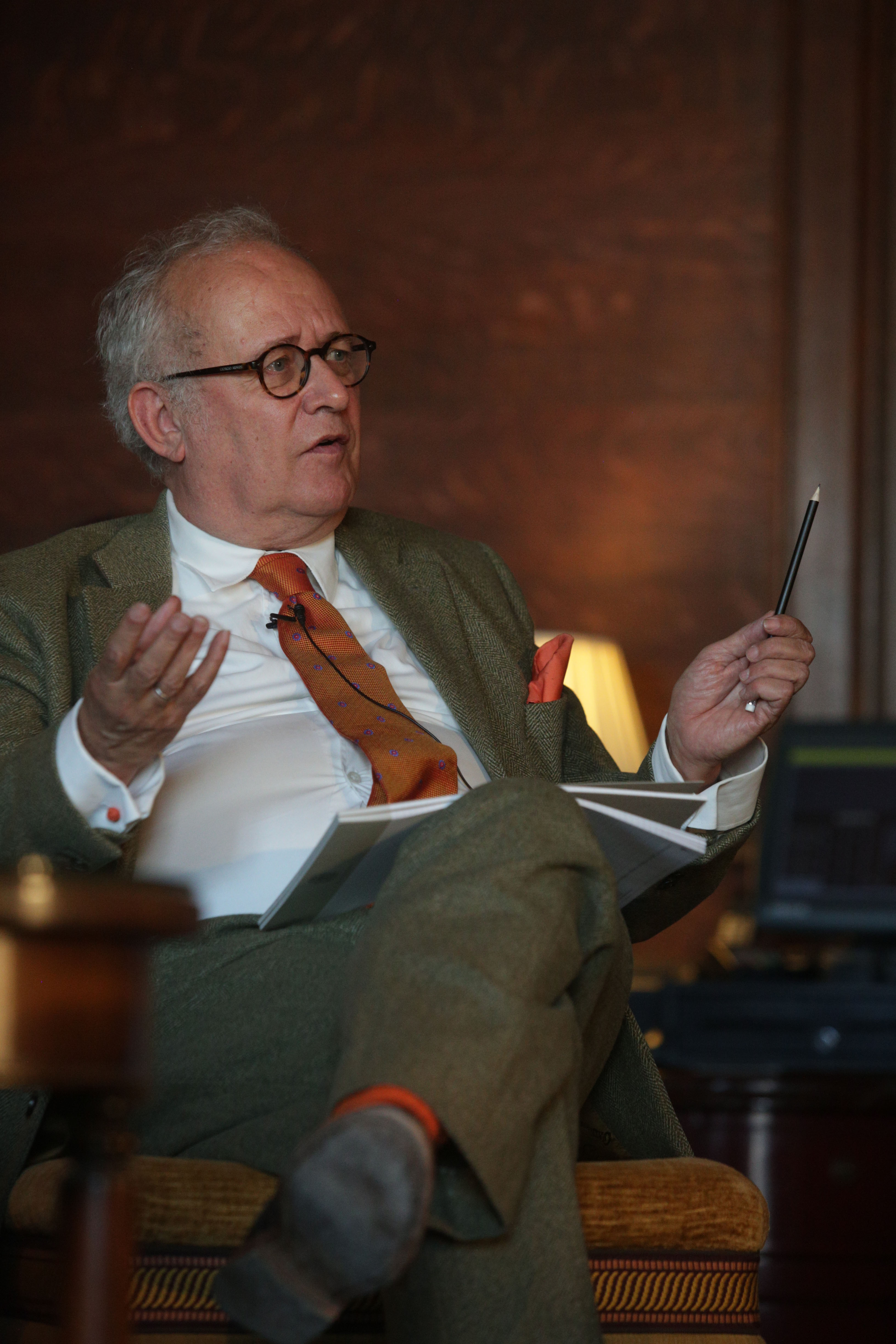 Richard Davenport-Hines, expert on the Profumo scandal, talking at Cliveden Literary Festival