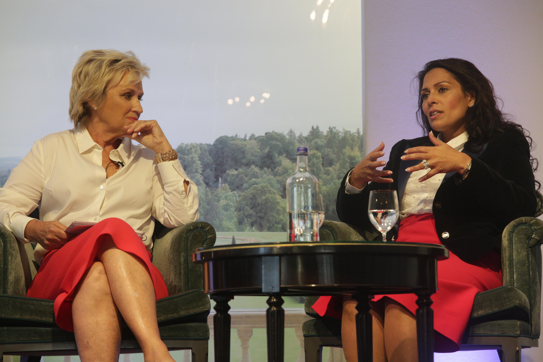 Tina Brown and Priti Patel at Cliveden Literary Festival
